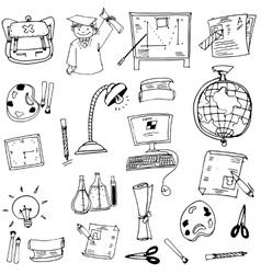 Hand draw obejct school doodles vector
