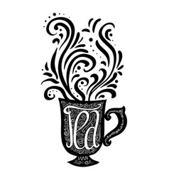 hand drawn with a lettering and a cup vector image