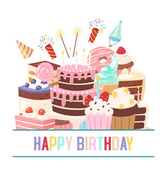 happy birthday sweets festive banner vector image