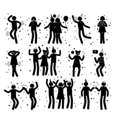 happy celebration poses on vector image