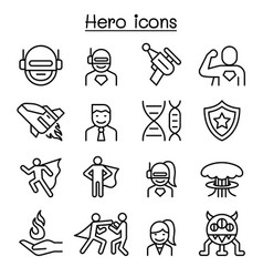 Hero icon set in thin line style vector