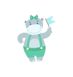 Hippo Cute Animal Character Attending Birthday vector