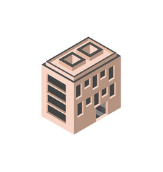 Hotel apartments building isometric style vector