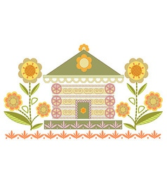 House of ornaments and stylized flowers in green vector image