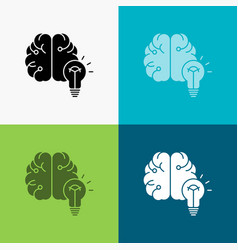 idea business brain mind bulb icon over various vector image