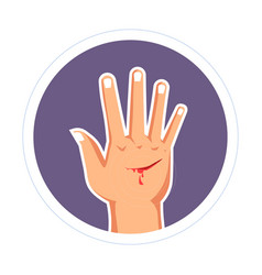 Injury cut on hand bleeding scratch skin damage vector