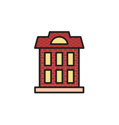 isolated vinous color low-rise municipal house in vector image