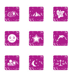 Legislation icons set grunge style vector