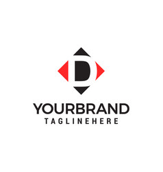 letter d negative space square logo design vector image