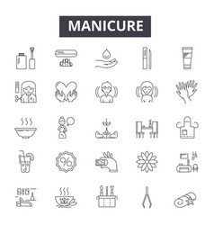 Manicure line icons signs set outline vector