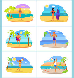 men and women in swimwear at tropical beaches set vector image