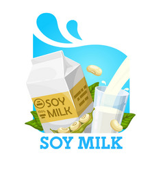 milk soya soybeans and package isolated label vector image