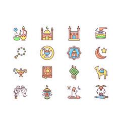 Muslim holidays rgb color icons set vector