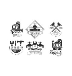 Original monochrome emblems for plumbing and home vector