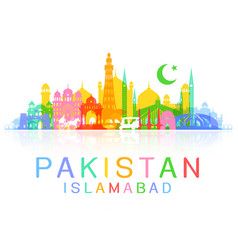 Pakistan travel landmarks vector