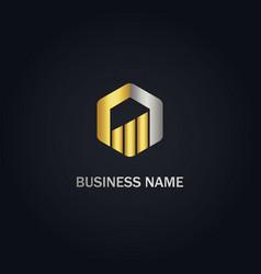 Polygon graph progress business gold logo vector