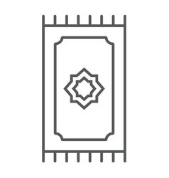 Prayer rug thin line icon ramadan and islam vector