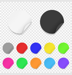 realistic 3d round adhesive colored blank vector image