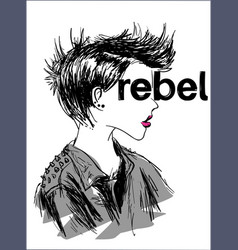Rebel concept t-shirt print and embroidery vector