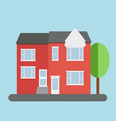 Red duplex house with grey roof and tree over blue vector