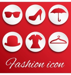 Red fashion realistic button set vector image