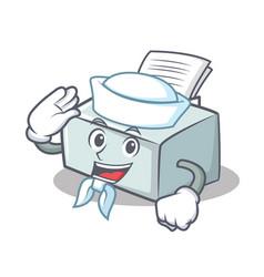Sailor printer character cartoon style vector