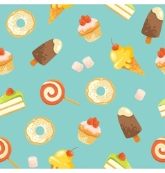 Seamless cute candies pattern vector image