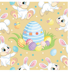 seamless pattern white bunnies and big easter egg vector image