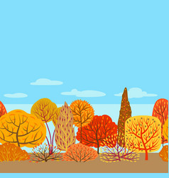 seamless pattern with autumn stylized trees vector image