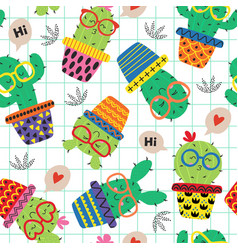 seamless pattern with cute cactus in glasses vector image