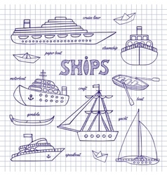 Ships on a notebook sheet vector image