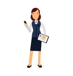 Smiling businesswoman cartoon character in elegant vector