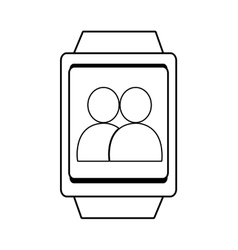 Square watch and people icon graphic vector