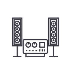 Stereo sound hi-fi system line icon sign vector