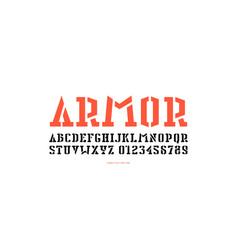 Stock stencil-plate serif font vector