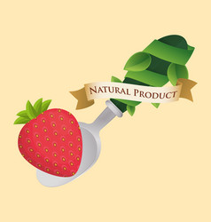 Strawberry food natural product poster vector