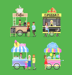 street fast food from carts with friendly vendors vector image