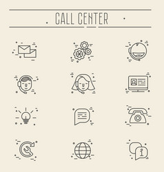support service icons set - thin line call center vector image