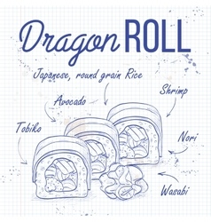 Sushi sketch Dragon roll vector