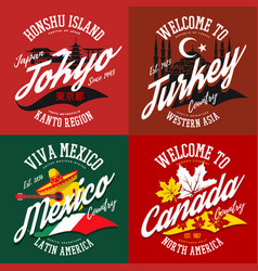 T-shirt prints for canada mexico turkey tokyo vector