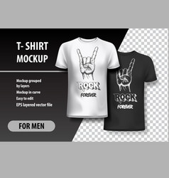 t-shirt template fully editable with rock gesture vector image