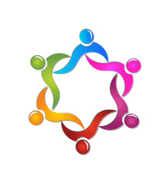 Teamwork swooshes helping people logo vector image