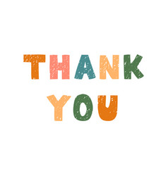 thank you - fun hand drawn lettering vector image