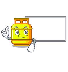 Thumbs up with board flammable gas tank on cartoon vector