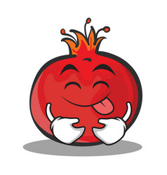 Tongue out pomegranate cartoon character style vector