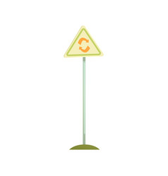 Triangular sign with a recycle symbol waste vector