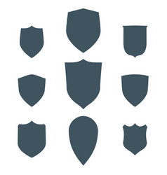 Vintage shields set isolated design vector