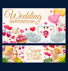 Wedding invitation calligraphy hearts and swans vector