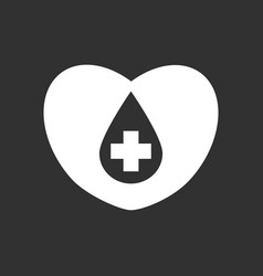 White icon on black background heart with a cross vector