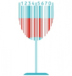 Wine glass and barcode vector